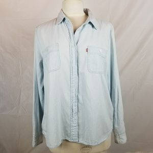 Levis light blue cotton Chambray Denim shirt